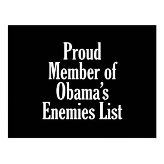 Proud Member of Obama's Enemies List Postcards