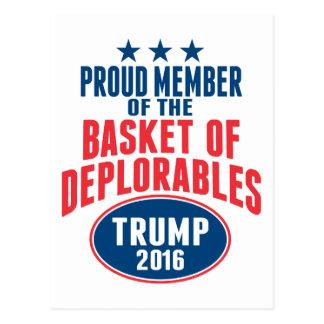 Proud Member of the Basket of Deplorables - Trump Postcard