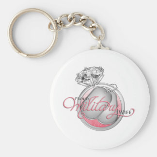 Proud Military Wife Basic Round Button Key Ring