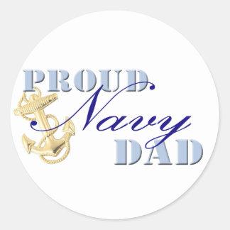 Proud Navy Dad Classic Round Sticker