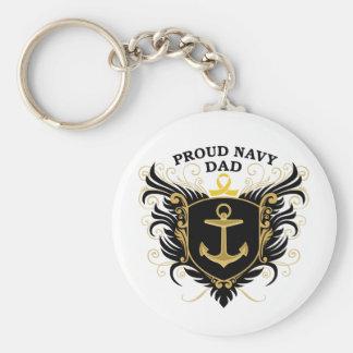 Proud Navy Dad Basic Round Button Key Ring