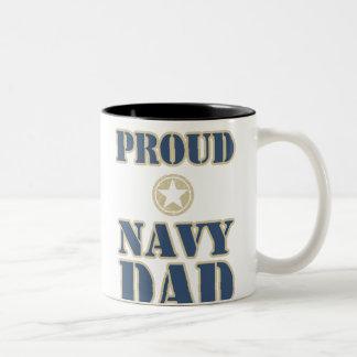 Proud Navy Dad Two-Tone Mug