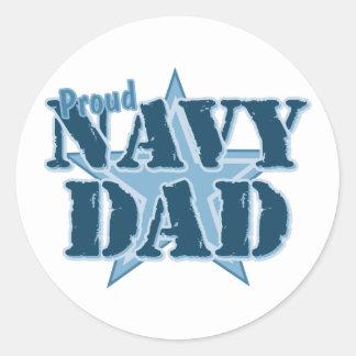 Proud Navy Dad Round Sticker