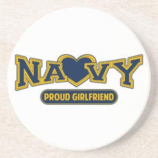 Proud Navy Girlfriend Beverage Coaster