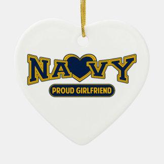 Proud Navy Girlfriend Ceramic Heart Decoration