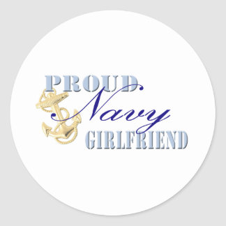 Proud Navy Girlfriend Classic Round Sticker