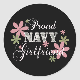 Proud Navy Girlfriend [fl c] Classic Round Sticker
