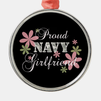 Proud Navy Girlfriend [fl c] Silver-Colored Round Decoration