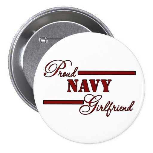Proud Navy Girlfriend (Red N Black) Buttons