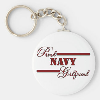 Proud Navy Girlfriend (Red N Black) Basic Round Button Key Ring