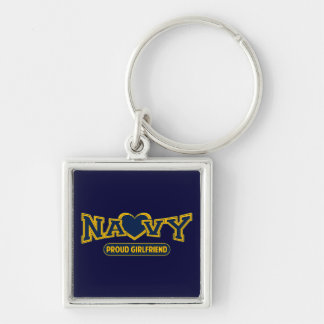 Proud Navy Girlfriend Silver-Colored Square Key Ring