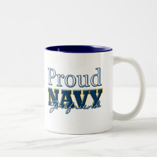 Proud Navy Girlfriend Two-Tone Coffee Mug
