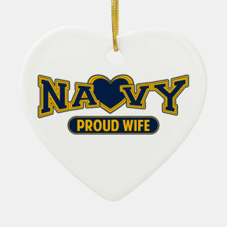 Proud Navy Wife Ceramic Heart Decoration