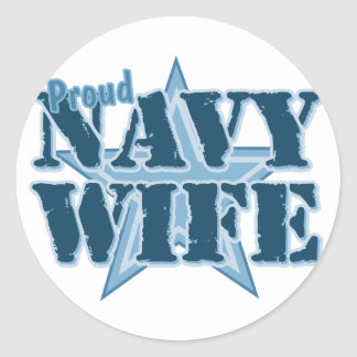 Proud Navy Wife Classic Round Sticker