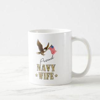 Proud Navy Wife - Eagle & Flag Basic White Mug