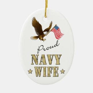 Proud Navy Wife - Eagle & Flag Ceramic Oval Decoration