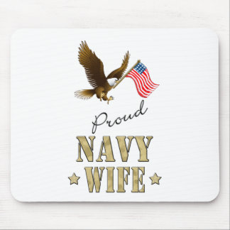 Proud Navy Wife - Eagle & Flag Mouse Pad