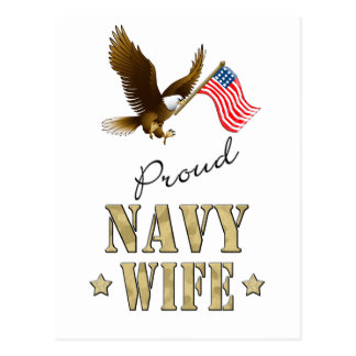 Proud Navy Wife - Eagle Flag Post Cards