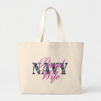 proud navy wife NWU Jumbo Tote Bag
