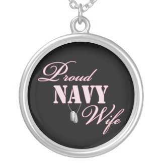 Proud Navy Wife Round Pendant Necklace