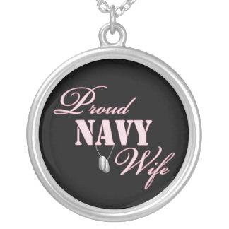 Proud Navy Wife Round Pendant Necklace