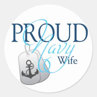 proud navy wife round sticker