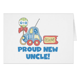 Proud New Uncle It's a Boy Tshirts and Gifts Greeting Card