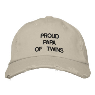 PROUD PAPA OF TWINS HAT EMBROIDERED BASEBALL CAP