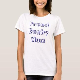 Proud Rugby Mum - Blue Text T-Shirt