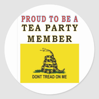 PROUD TO BE A TEA PARTY MEMBER ROUND STICKER