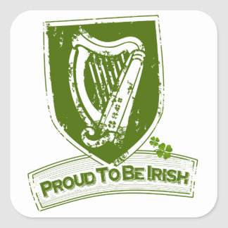 Proud To Be Irish (Harp Grn) Square Sticker
