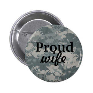 Proud Wife Military Button