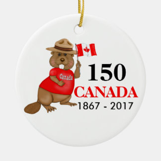 Proudly Canadian Beaver 150 Anniversary Christmas Ornament