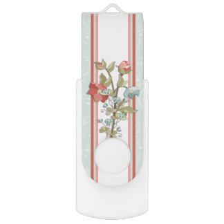 Provence Style Pink and Blue Floral Swivel USB 2.0 Flash Drive