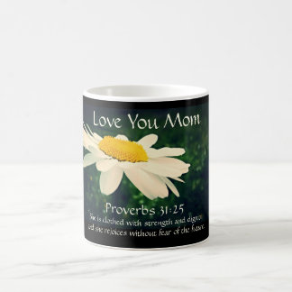 Proverbs 31:25, Mother's Day, White Daisy Custom Coffee Mug