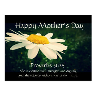 Proverbs 31:25, Mother's Day, White Daisy Custom Postcard