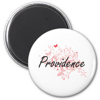 Providence Rhode Island City Artistic design with 6 Cm Round Magnet