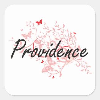 Providence Rhode Island City Artistic design with Square Sticker