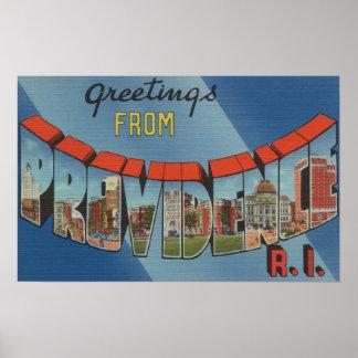 Providence, Rhode Island - Large Letter Scenes Poster