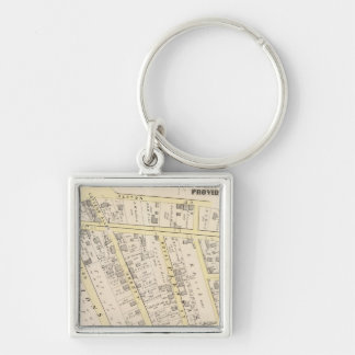 Providence Rhode Island Map 2 Silver-Colored Square Key Ring