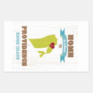 Providence, Rhode Island Map – Home Is Where Rectangular Sticker