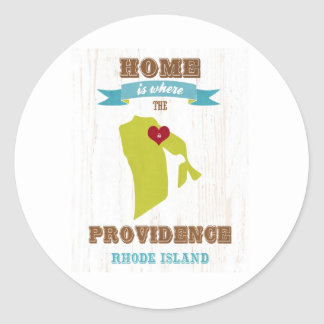 Providence, Rhode Island Map – Home Is Where Round Sticker