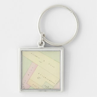 Providence Rhode Island Map Silver-Colored Square Key Ring