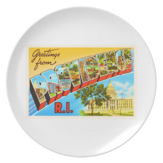 Providence Rhode Island RI Vintage Travel Souvenir Dinner Plates