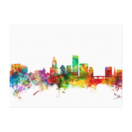 Providence Rhode Island Skyline Stretched Canvas Print
