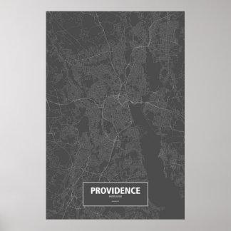 Providence Rhode Island white on black Print