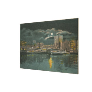 Providence, RI - Night View of City & Waterfront Canvas Print