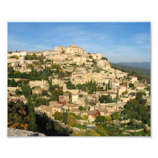 Provincial hill town shimmers in the morning light photo print