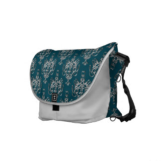 Prussian Blue and Silver Damask Messenger Bag