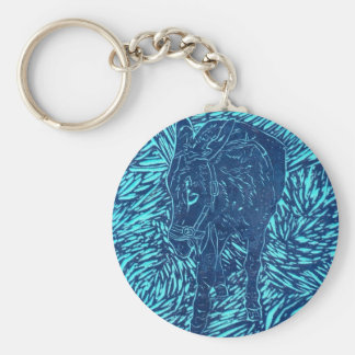 Prussian Blue Buford Basic Round Button Key Ring